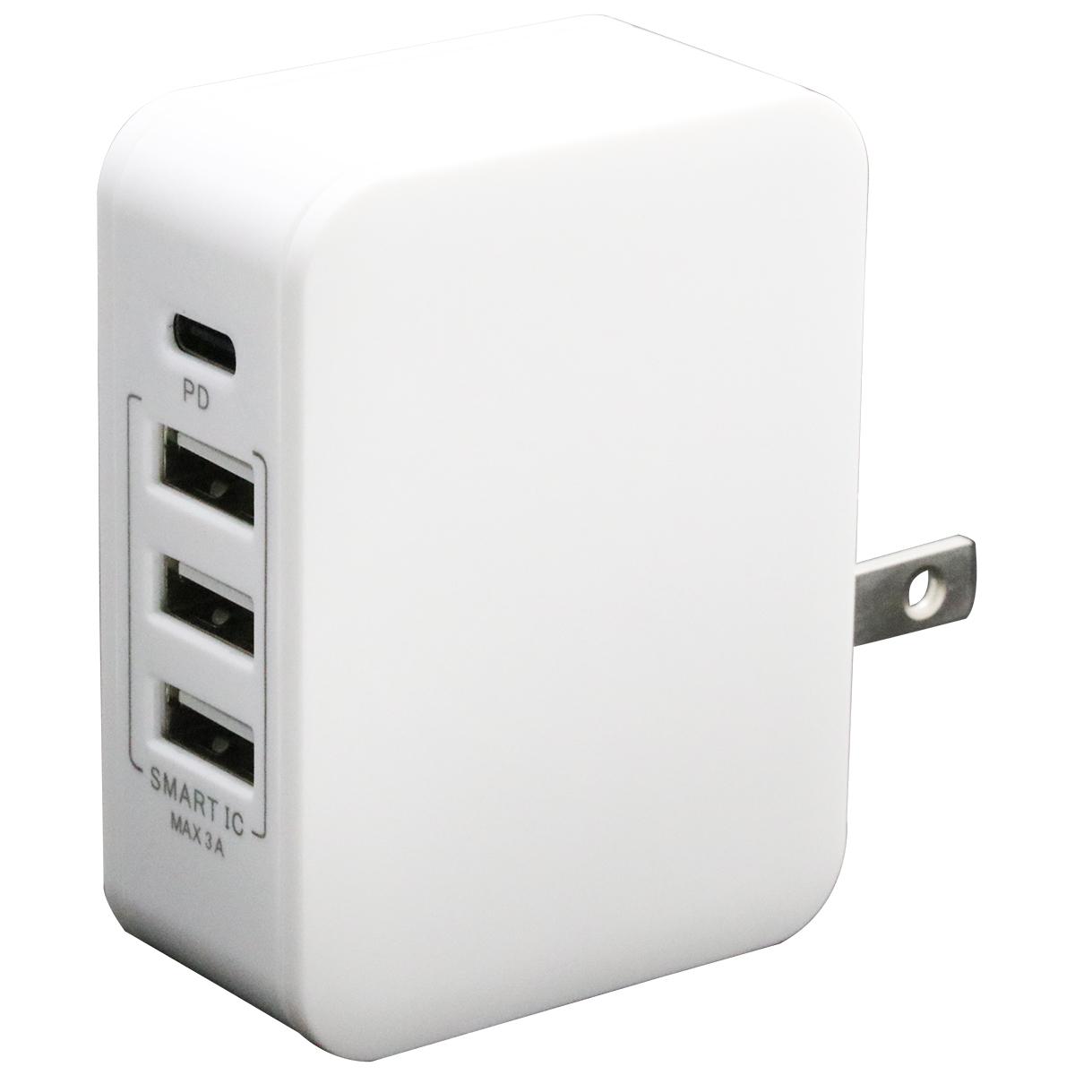 PD対応Type-C/3USBポートAC充電器20W